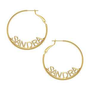 Name Hoop Earrings for Women Girls, 14K Gold Filled S925 Sterling Silver Post Personalized Name Earrings for Women Handmade Piercing Custom Name Earrings for Women Girls Jewelry SANDRA earrings