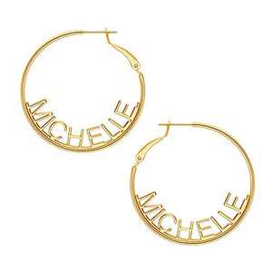 Name Hoop Earrings for Women Girls, 14K Gold Filled S925 Sterling Silver Post Personalized Name Earrings for Women Handmade Piercing Custom Name Earrings for Women Girls Jewelry MICHELLE earrings