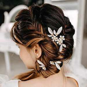 AW BRIDAL Wedding Hair Accessories for Brides Bridesmaid Hair Pieces Bridal Hair Comb Pearl Hair Pins 3Pcs (Gold)