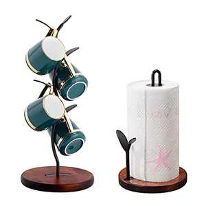 Paper Towel Holder and Mug Tree Set, YIWANFW Mug Tree Cup Rack Kitchen Roll Holder Stand Set with Wood Base (Brown)
