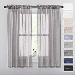 RYB HOME Linen Sheer Curtains Window Curtains Panels of 2 Vertical Sense Drapes Light Glare Filtering Breathable Airy Window Treatment for Bedroom Dining Cafe, Charcoal Grey,W52 x L63