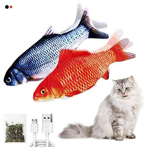 Vusnud Floppy Fish cat Toy, Flopping Fish Wiggles Like a Real Fish, USB Rechargeable and Catnip Infused, Fun Toy for Cat Exercise