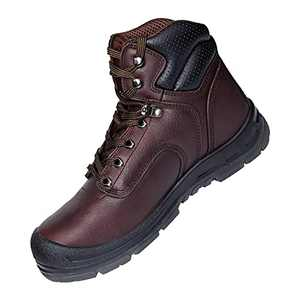 BOIWANMA Work Safety Boots for Men with Steel Toe Durable Full-Grain Leather Safety Shoes, Wide Work Boots for Men Footwear Ankle Support Industrial & Construction Boots, Size 8.5 Dark Brown