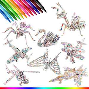 Bessmate 3D Coloring Puzzle Set, 8 Pack Painting Puzzles with 24 Pen Markers, Creativity DIY Gift for Boys Giears Old Kids