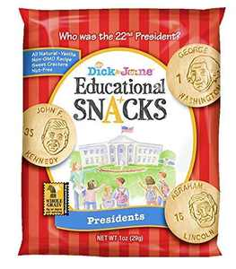 Educational Snacks I Presidents Features US Presidents + the Whitehouse (30) 1oz Bags | Sweet Vanilla Crackers ALL NATURAL, NON-GMO & NUT FREE