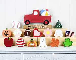 Winder Red Truck Decor Home Welcome Sign 2-Side Wood Block Seasonal Cutout Set Tabletop with Interchangeable 16-PC Icons for Spring 4th of July Halloween Christmas for Farmhouse Fireplace Mantel Decor