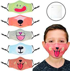 Pack of 5 Kids Face Mask Set - Children's 3 Layer Washable Reusable and Adjustable Cotton Mouth Cover For Boys And Girls Age 3-12| Cute Animal Faces and Personalized Kids Face Mask | Mesh Laundry Bag Included