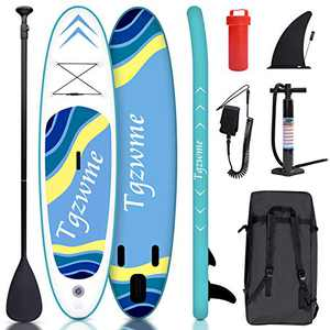 """Tgzwme 10'×30""""×6"""" Inflatable Stand Up Paddle Board with Adjustable Paddle,3 Fins, Leash, Hand Pump, Backpack"""