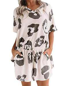 Avanova Women's Pajama Set Cow Print Short Sleeve Tee and Shorts 2 Piece Sleepwear Set White Medium