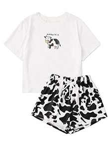 Avanova Women's Pajama Set Letter Graphic Short Sleeve Tee and Shorts 2 Piece Sleepwear Set Cow Small