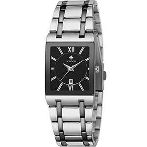Square Watches for Men and Women Stainless Steel Mens Square Watch with Date Waterproof Analog Quartz Fashion Business Casual Wristwatch