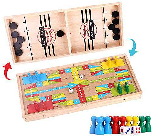 Fast Sling Puck Game 2 in 1 Parent-Child Interactive Foosball Winner Board Game and Flying Chess Wooden Ice Hockey Game Super Winner Board Games Paced Slingshot (17.91 x 7.68 x 1.38 in)