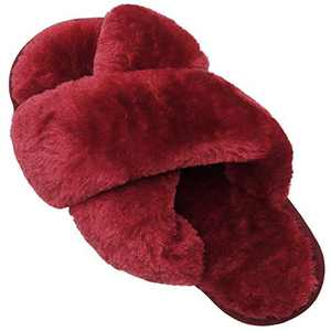 FEETCITY Women's Soft Plush Lightweight House Slippers Non Slip Cross Band Slip on Open Toe Cozy Indoor Outdoor Slippers Size 8-9 Red