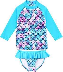 TOKI JJANG Baby/Toddler Girls Long-Sleeve Rashguard 2-Piece Swimsuit with Zipper 2-7Y
