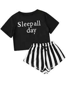 Avanova Women's Pajama Set Letter Graphic Short Sleeve Tee and Shorts 2 Piece Sleepwear Set Letter Medium