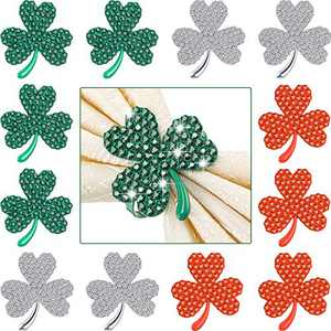 Clover Shamrock Napkin Ring St. Patrick's Day Napkin Rings Holder Buckle Napkin Holders Ring Metal Rhinestone Napkin Ring for St. Patrick's Day Wedding Party Table Decor (Mix Color, 12)