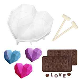 """Silicone Chocolate Heart Mold, Breakable Heart Molds for Chocolate, 7.4"""" Big Size, with Number Letter Mold and Hammers, Silicone Molds for Baking, Candy, Cake, Cookie (White)"""