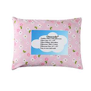 Toddler Pillow 13 x 18 with Cotton Pillowcase for Baby Girl, Soft Breathable for Toddler Kid Napping and Night Sleeping, Pink Floral Printing