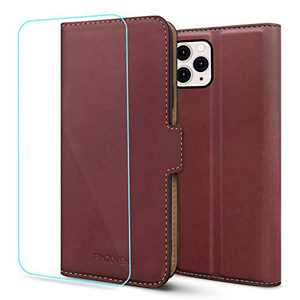 Pinzoveno for iPhone 11 Pro Max Wallet Case, Flip Phone Cover with Card Holder Slots and Screen Protector Kickstand PU Leather Folio iPhone 11 Pro Max Cases for Women - Wine Red
