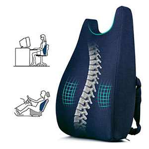 Ertong Lumbar Support Pillow Back Cushion Memory Foam Orthopedic Backrest Used for Chair Back Support Office/Computer Chair and Wheelchair.Breathable & Ergonomic Design for Back Pain Relief (blue1.1)