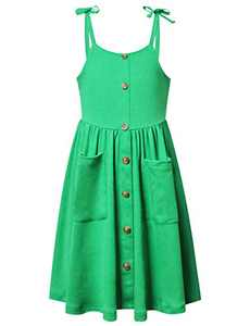 Perfashion Girls Dress Size 8 Kids Button Down Summer Clothes Tie Shoulder Sundress with Pockets Green 9t