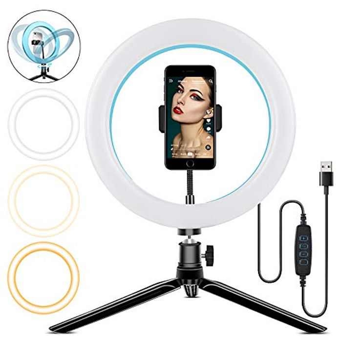 """LED Ring Light 10"""" with Tripod Stand & Phone Holder for YouTube Video, Dimmable Desk Makeup Ring Light & Desktop Camera Led Ring Light for Selfie Photography, 3 Light Modes (Aluminum Shell Blue)"""