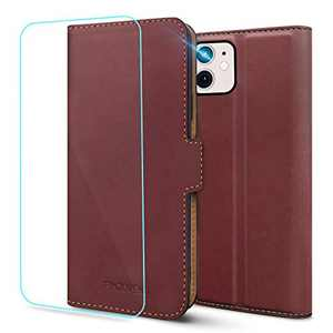 Pinzoveno for iPhone 11 Wallet Case, Flip Phone Cover with Card Holder Slots and Screen Protector Kickstand PU Leather Folio iPhone 11 Cases for Women - Wine Red