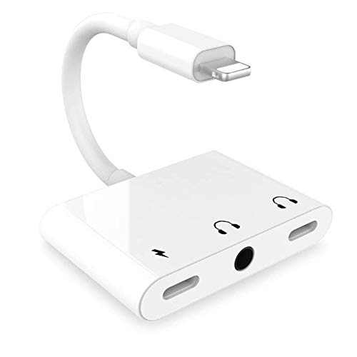 [Apple MFi Certified] iPhone Headphones Adapter, 3 in 1 Lightning to 3.5mm Headphone Jack Dual Lightning Port Fast Charger+Aux Audio Dongle Splitter Compatible with iPhone 12/11/SE/XS/XR/X/8/7 Plus