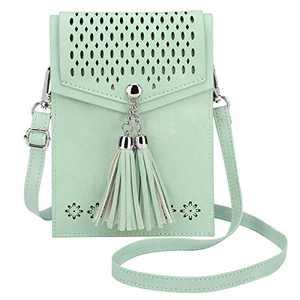 seOSTO Womens Small Crossbody Bag, Tassel Cell Phone Purse Holder Wallet Creative Birthday Gifts For Girls(Green)