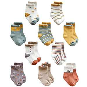Toddler Girls Boys Crew Cotton Socks Baby Cartoon Ankle Socks 10 Pack, Assorted Color, 1-3 Years