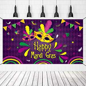 Crenics Mardi Gras Banner Decorations, Large Carnival Photography Backdrop 5.9ft x 3.3ft, Photo Booth Party Banner for Mardi Gras New Orleans Theme Supplies