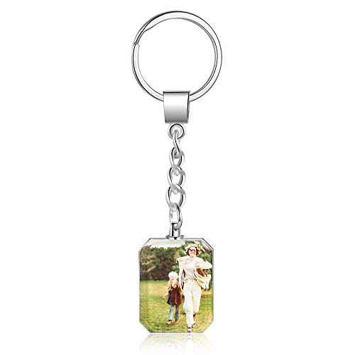 LanM Personalised photo keychain with Artificial Crystal Customized Photo Keyring for dad Mom Special Day Anniversary Birthday Valentine's Day Gift