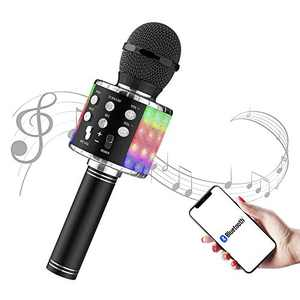 Karaoke Microphone - FLYBEBE Karaoke Wireless Microphone Bluetooth with LED Lights, Portable 4 in 1 Multi-Function Handheld Karaoke Machine for Adults Kids Birthday Home Party Singing