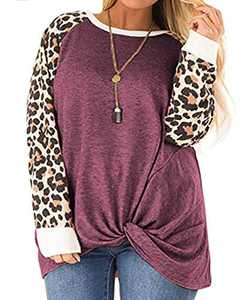 CARCOS Womens Plus Size Shirts Leopard Print Twist Knot Clothing Long Sleeve Pullovers Round Neck Casual T Shirt Red 2X 18W 20W