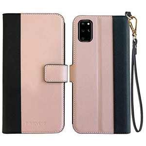 Pinzoveno Galaxy S20 Plus Wallet Case, Flip Phone Cover with Card Holder Wrist Strap and Screen Protector Kickstand PU Leather Folio Samsung Galaxy S20+ Plus Cases for Women - Pink