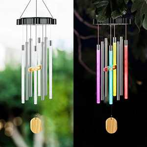 KKUYT Solar Wind Chimes, Memorial Wind Chime with Color Changing light, Waterproof Mobile Windchime Outdoors, Housewarming Decoration for Garden, Yard, Home Decor, Birthday Gift for Women Wife Grandma