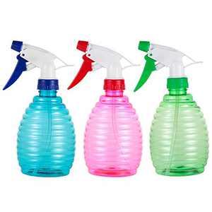 Pack of 3-16 Oz Empty Plastic Spray Bottles - Attractive Vibrant Colors - Multi Purpose Use Durable Random color BPA Free Material (16.9 OZ(500ML)3bottles)