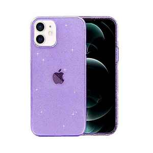 ABenkle Compatible with iPhone 12 and 12 Pro Case, Slim Fit Hybrid Glitter Bling Sparkly Case for Women Shockproof Protective Flexible Bumper Cover for iPhone 12/12 Pro 6.1-Inch 2020, Purple Glitter