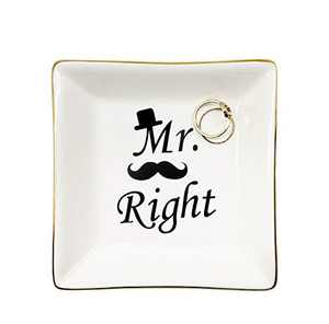 Jewelry Ring Dish,Ceramic Trinket Ring Dish Wedding Engagement Gift for Bridegroom Wedding Anniversary for Mr Engaged Gifts,Mr Right Decor Ring Holder Dish
