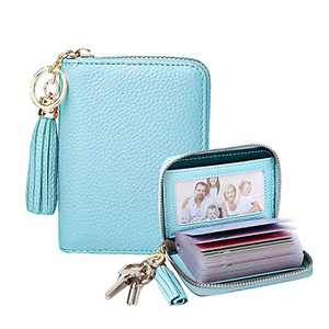 LLi Cufite - Genuine Leather Credit Card Holder Coin Purse with Clear ID Windows Wallet Pouch with Key Chain Tassel Zip Womens