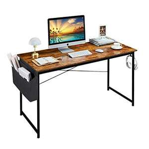 Homchwell Study Computer Desk 47 inch Home Office Writing Small Desk,Modern Simple Style PC Table with A Storage Bag and Headphone Hook,Rustic Brown