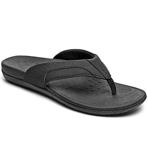 UTENAG Mens Arch Support Flip Flops Orthotic Thong Sandals Black
