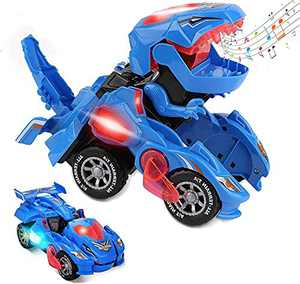 Transforming Dinosaur Toys, Transforming Dinosaur Car for Kids, Automatic Transform Dino Cars with Music and LED Light, Transform Dino Car for 3 4 5 6 Year Old Boys Girls Christmas Birthday Gifts
