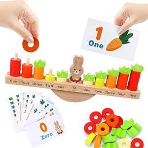 KANKOJO Montessori Math Toys for Kids 4-6, Wooden Balance Game Number Counting Games Stacking Blocks with Flashcards for Toddler STEM Educational Supplies