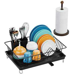 Dish Drying Rack, Veckle Set of Paper Tower Holder and Sink Side Dish Rack with Swivel Spout Cutlery Utensil Holder Black Dish Drainer, Bronze Farmhouse Paper Towel Holders Countertop for Kitchen