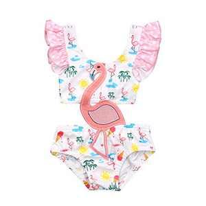 Toddler Baby Girl One Piece Ruffle Swimsuits Flamingo Bikini Bathing Suit Swimwear Beachwear Summer (White, 6-12 Months)