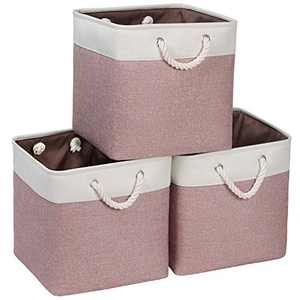 Syeeiex Foldable Storage Cubes 13'' X 13'' X 13'' Fabric Bins for Cubes with Cotton Rope Handles Storage Baskets for Shelves Closet Rose Red & White set of 3