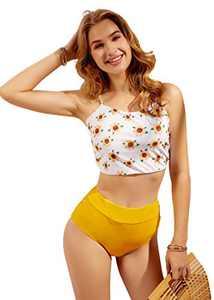 Sofia's Choice Women's Two Pieces Swimsuit Tie Back High Waisted Crop Top Bikini Set