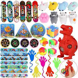 MGparty 48Pcs Party Favors Toys Assortment Fidget Toys Set Sensory Toys Relieves Stress Squeeze Dinosaur for Kids Birthday Party Favors Carnival Prizes Box Goodie Bag Fillers Classroom Rewards Pinata Filler Toys Treasure Box
