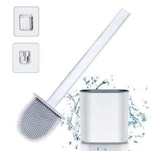 Silicone Toilet Brush with Holder - 36.5cm Deep Cleaner Toilet Brushes and Holders Quick Drying Kit with Hook, No-Slip Plastic Handle Set, Soft Bristles for Cleaning Gap Bathroom Hygienic Sets(White)